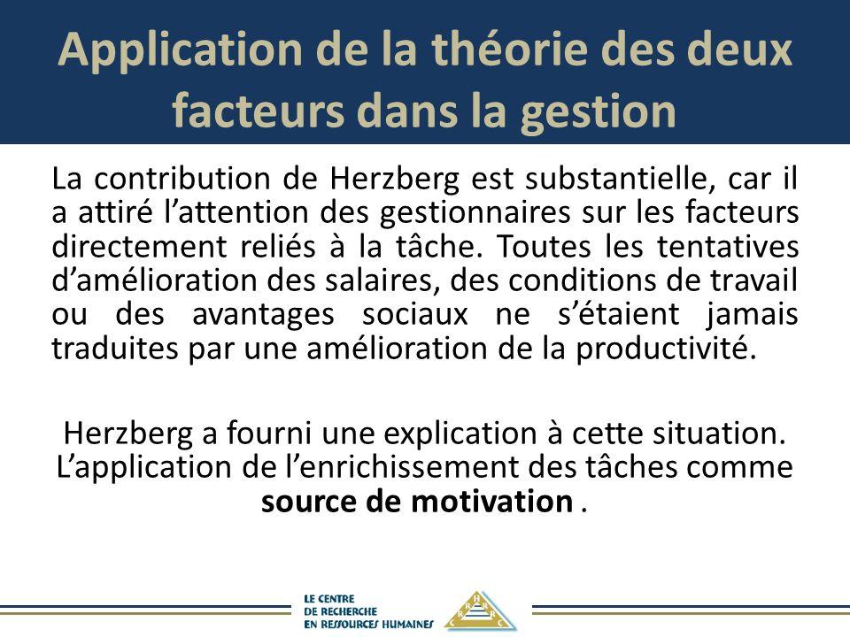 Application de la théorie des deux facteurs dans la gestion