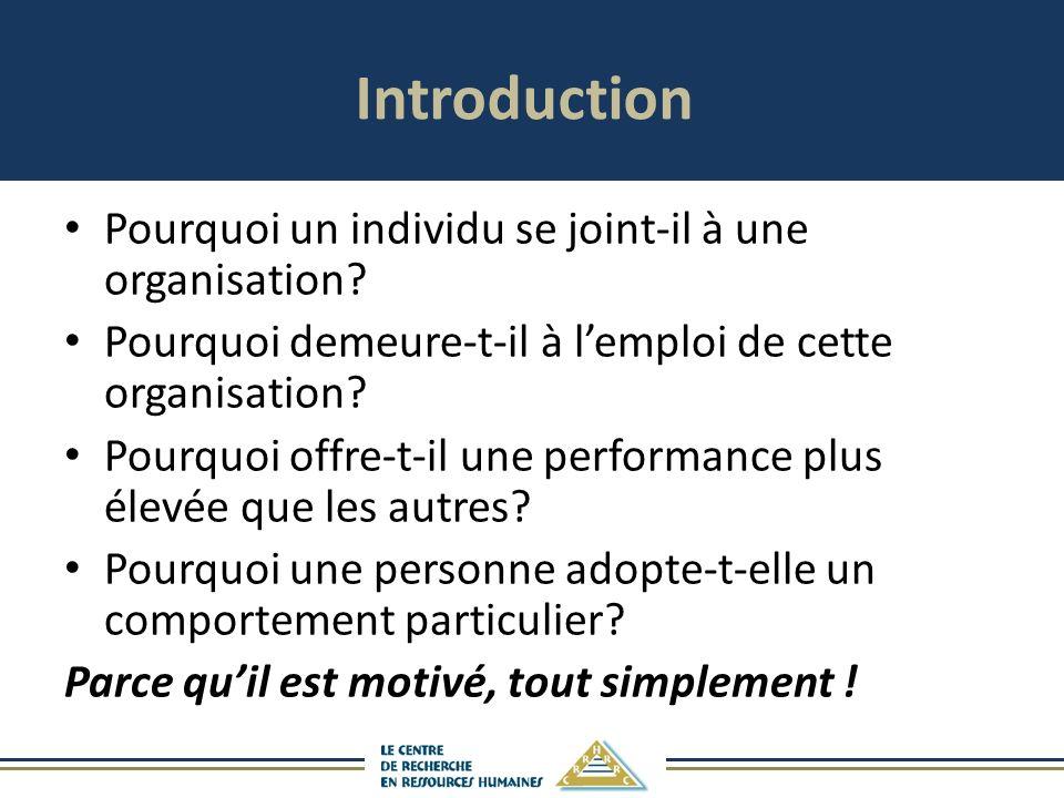 Introduction Pourquoi un individu se joint-il à une organisation