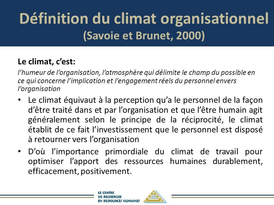 Définition du climat organisationnel (Savoie et Brunet, 2000)