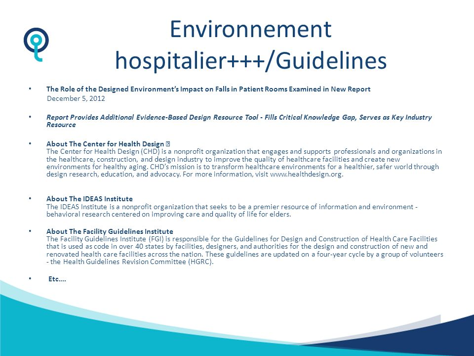 Environnement hospitalier+++/Guidelines