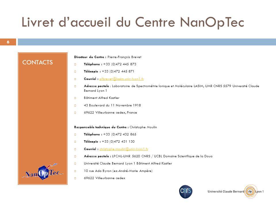 Livret d'accueil du Centre NanOpTec