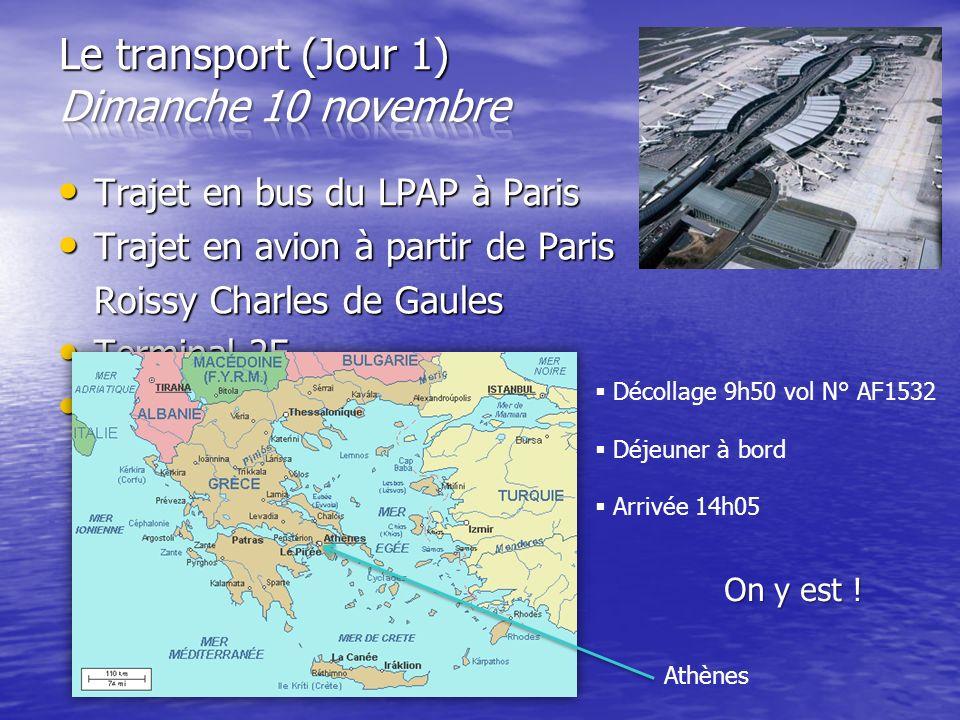 Le transport (Jour 1) Dimanche 10 novembre