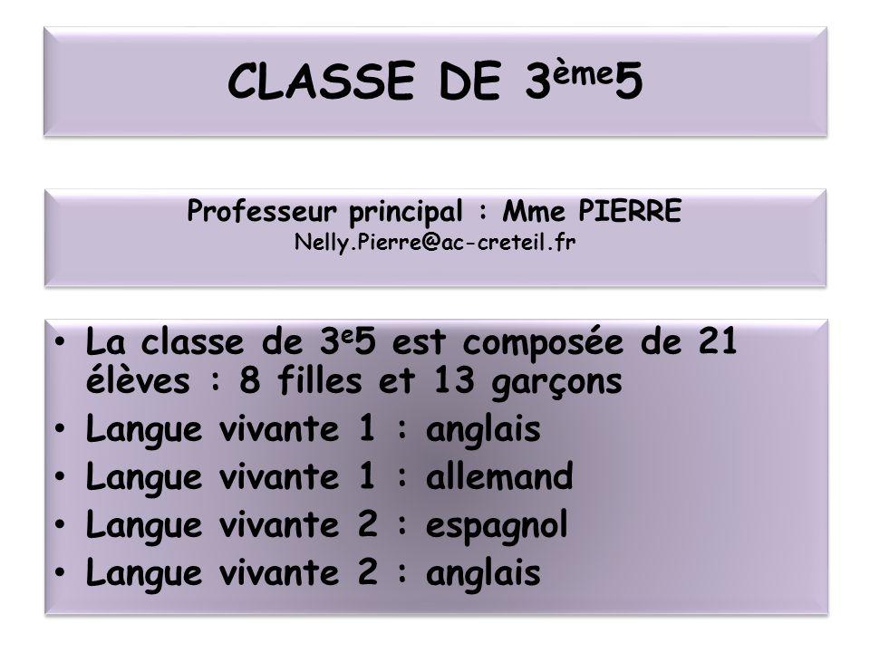 Professeur principal : Mme PIERRE