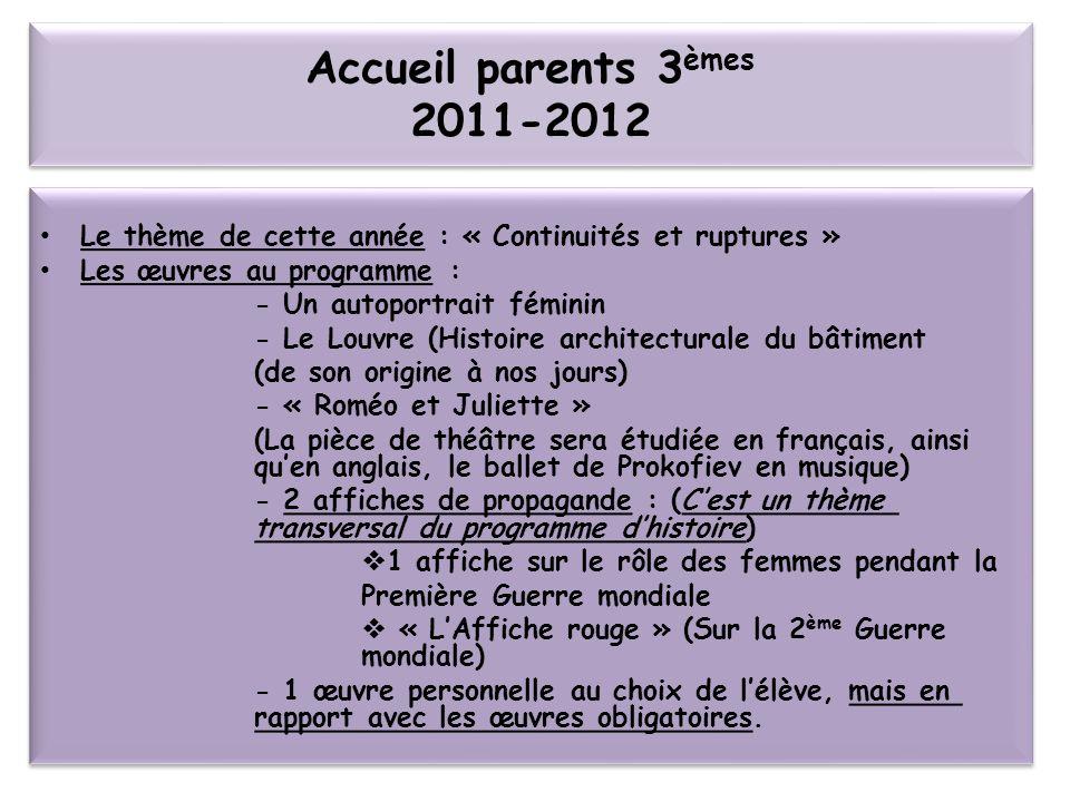 Accueil parents 3èmes 2011-2012 Le thème de cette année : « Continuités et ruptures » Les œuvres au programme :