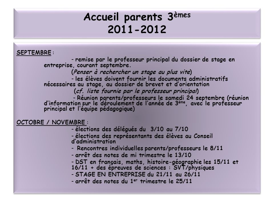 Accueil parents 3èmes SEPTEMBRE :