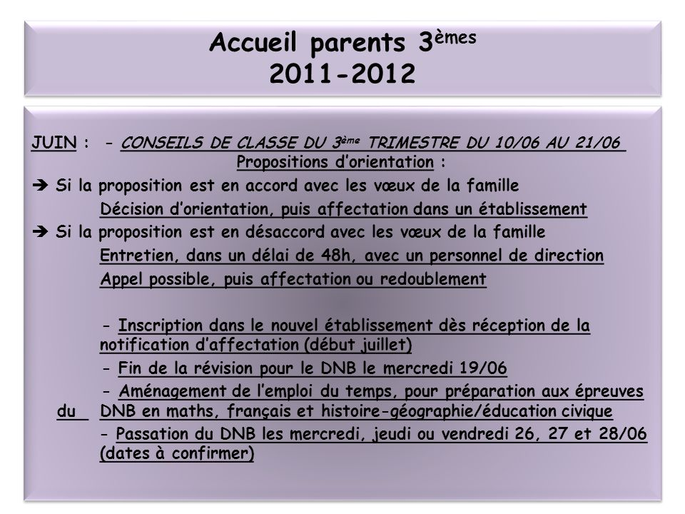 Accueil parents 3èmes