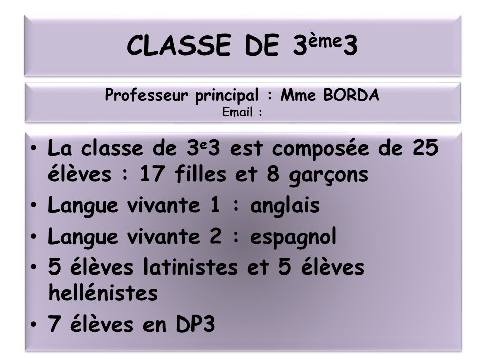 Professeur principal : Mme BORDA