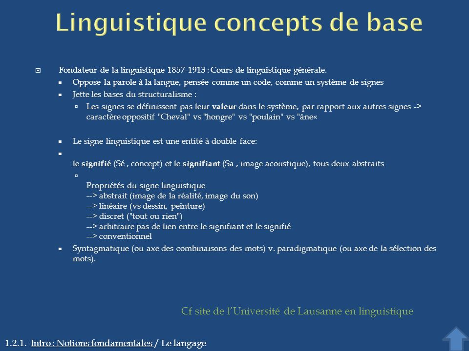 Linguistique concepts de base