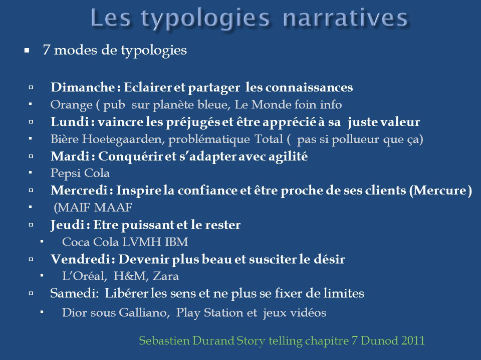 Les typologies narratives