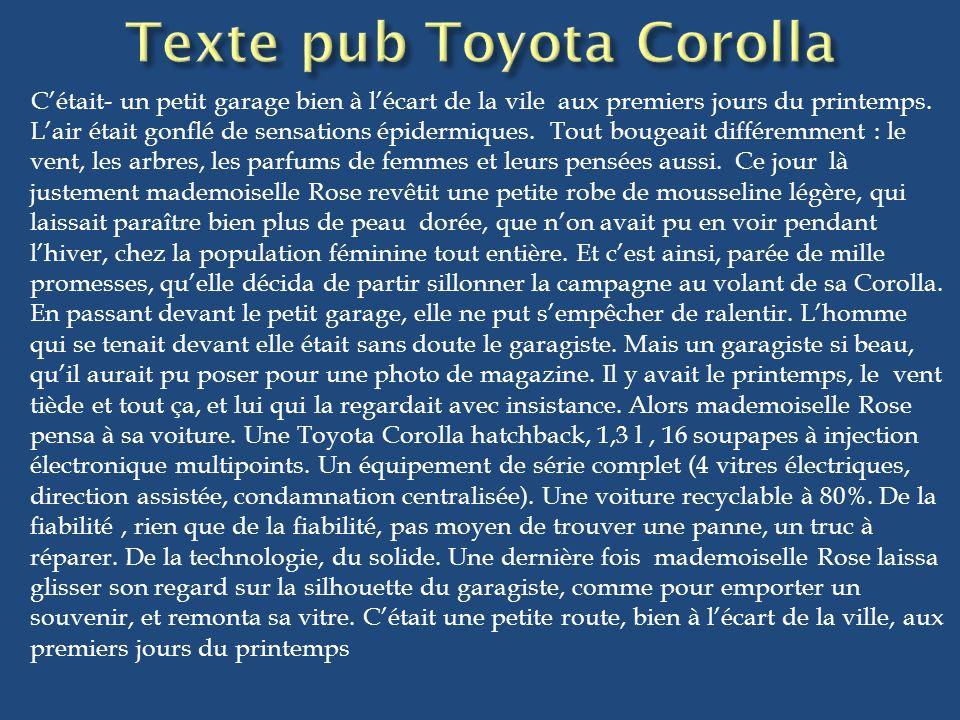 Texte pub Toyota Corolla