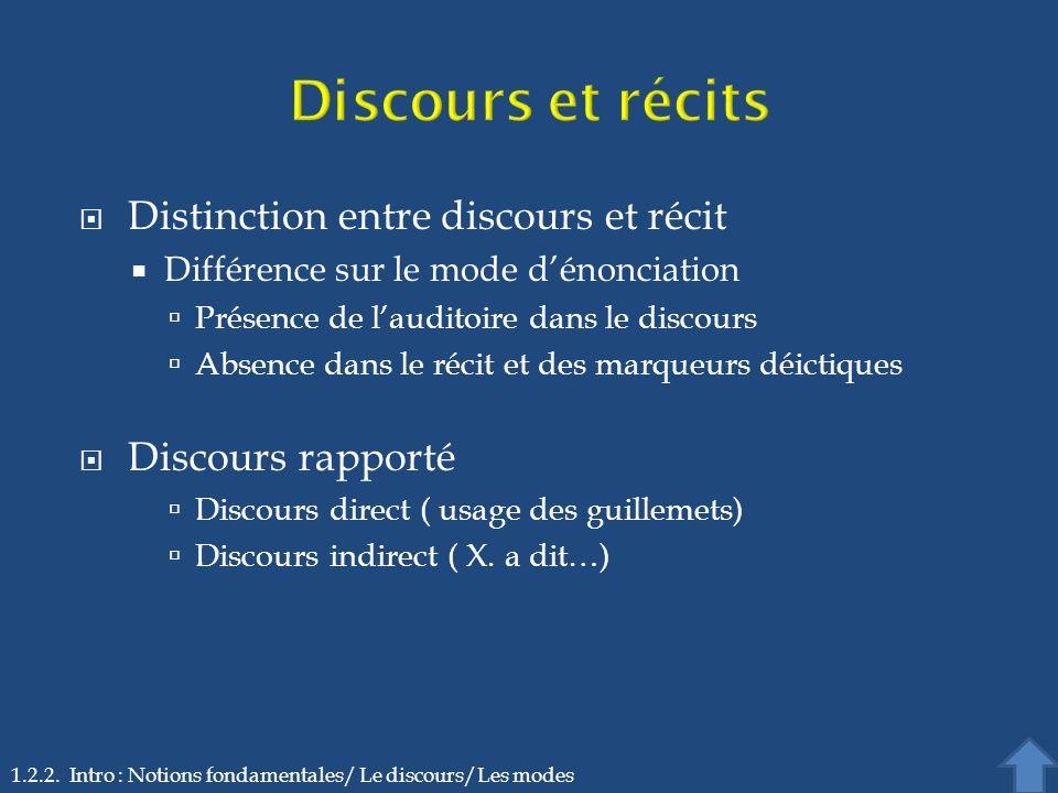 Discours et récits Distinction entre discours et récit