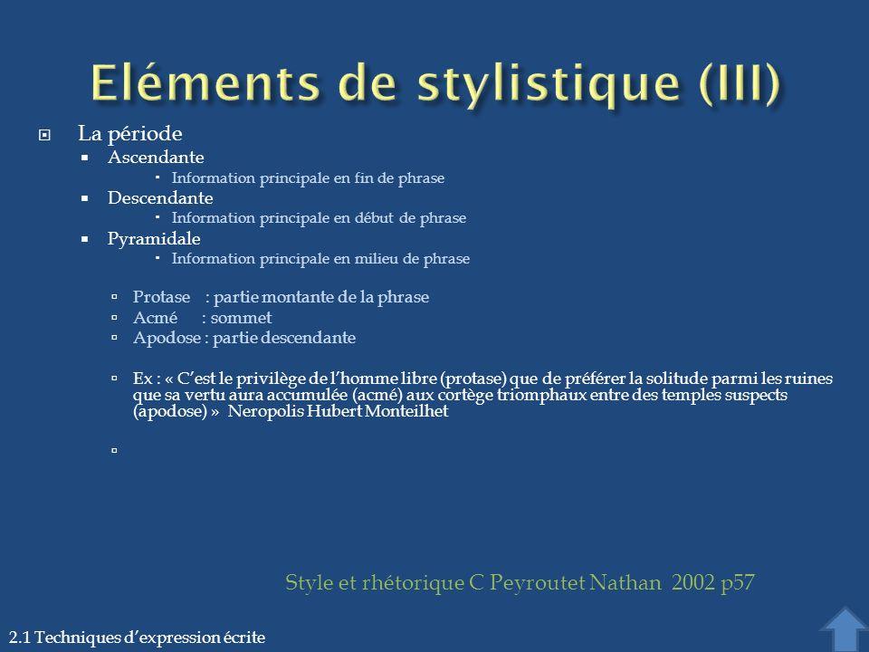 Eléments de stylistique (III)
