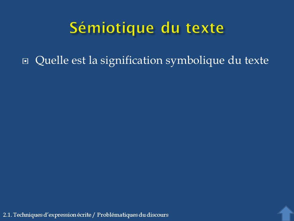 Sémiotique du texte Quelle est la signification symbolique du texte