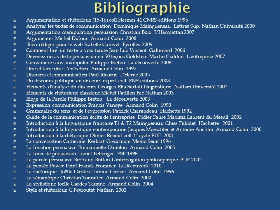 Bibliographie Argumentation et rhétorique (15-16) coll Hermes 41 CNRS editions 1995.