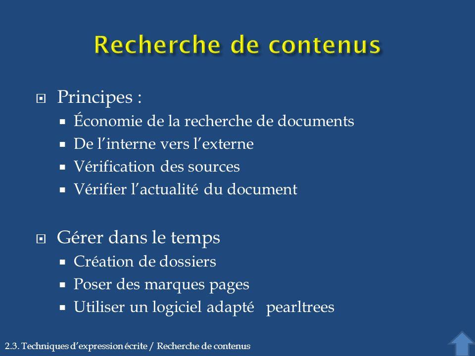 Recherche de contenus Principes : Gérer dans le temps