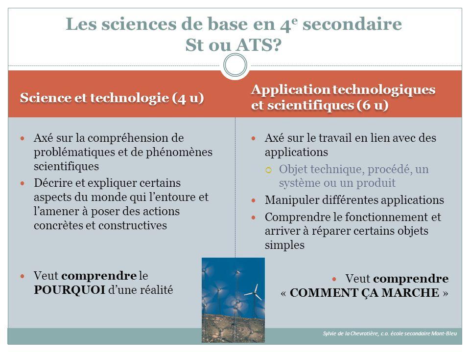 Les sciences de base en 4e secondaire St ou ATS