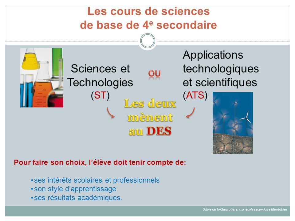 Les cours de sciences de base de 4e secondaire