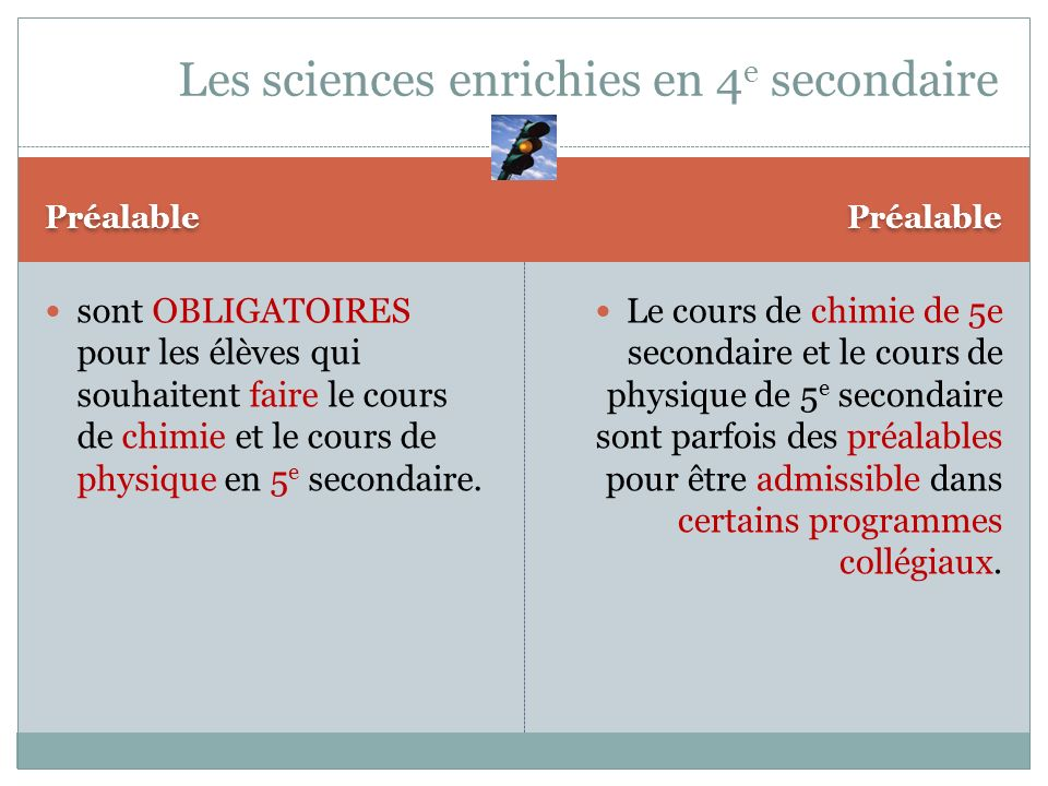 Les sciences enrichies en 4e secondaire