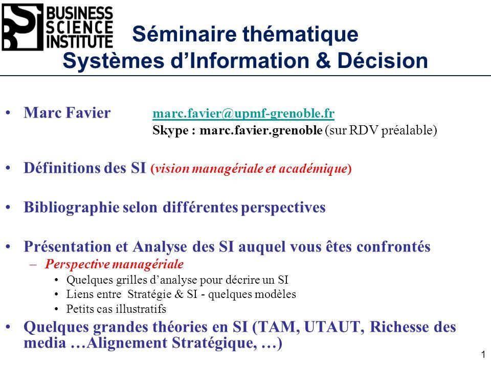 Séminaire thématique Systèmes d'Information & Décision
