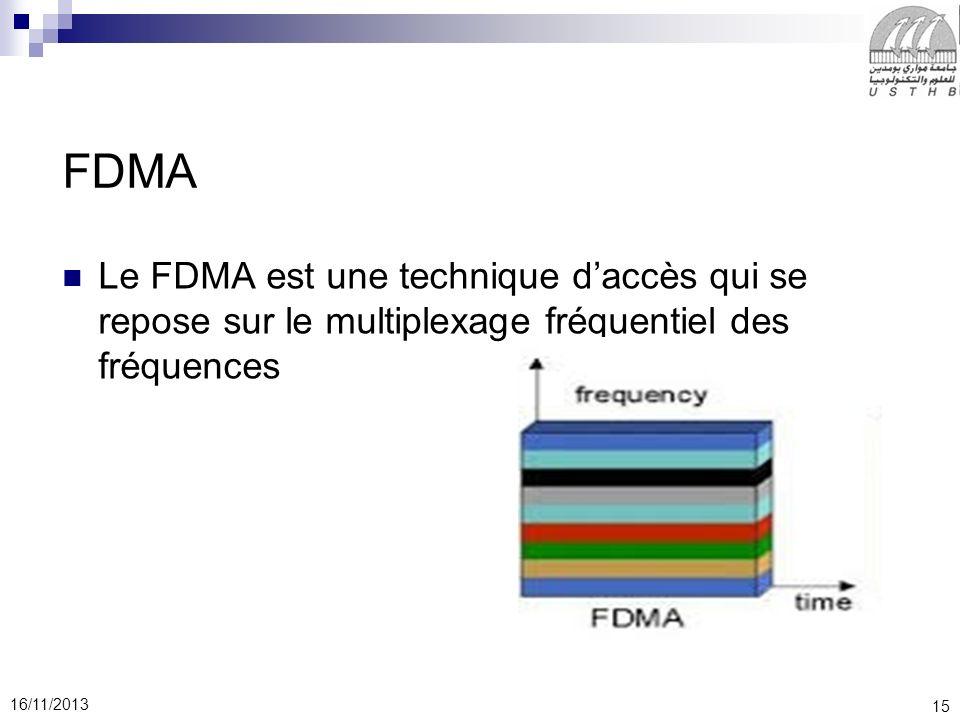 FDMA Le FDMA est une technique d'accès qui se repose sur le multiplexage fréquentiel des fréquences