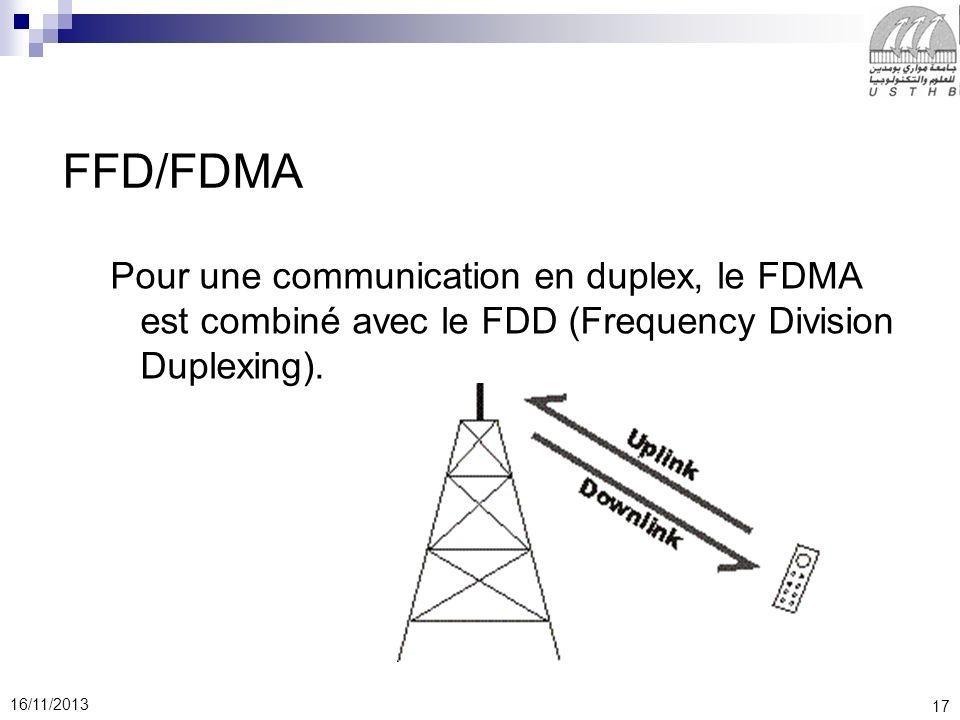 FFD/FDMA Pour une communication en duplex, le FDMA est combiné avec le FDD (Frequency Division Duplexing).
