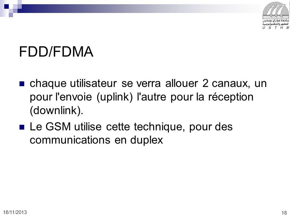 FDD/FDMA chaque utilisateur se verra allouer 2 canaux, un pour l envoie (uplink) l autre pour la réception (downlink).