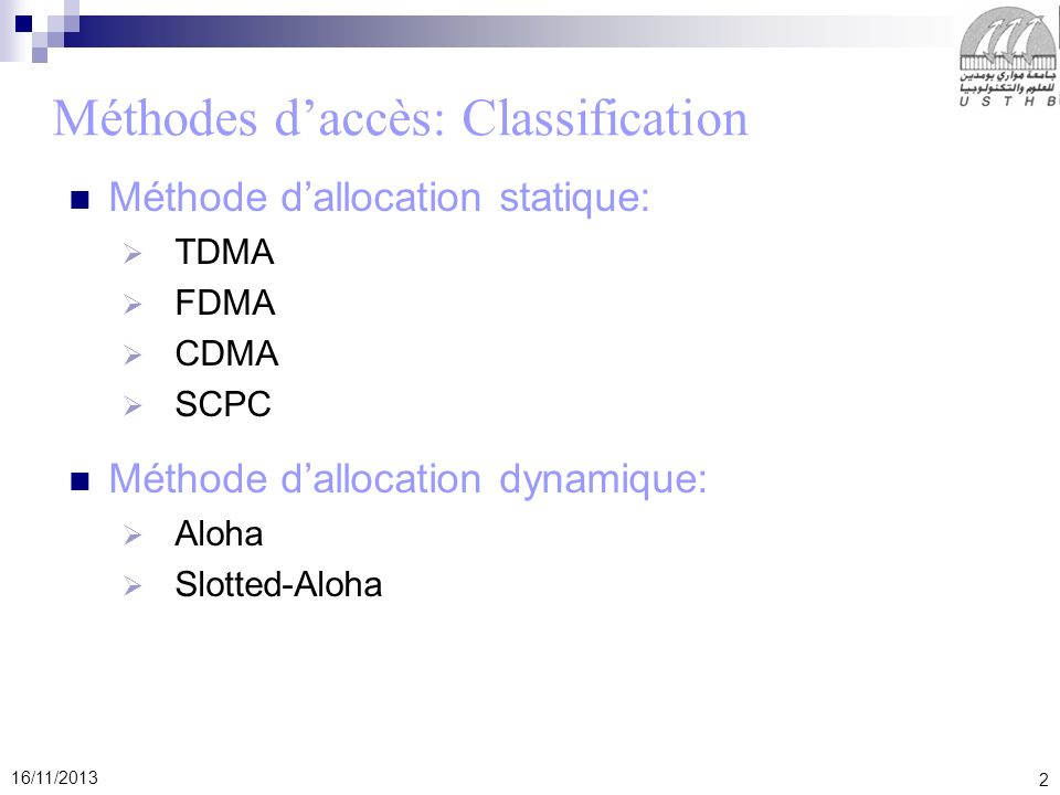 Méthodes d'accès: Classification