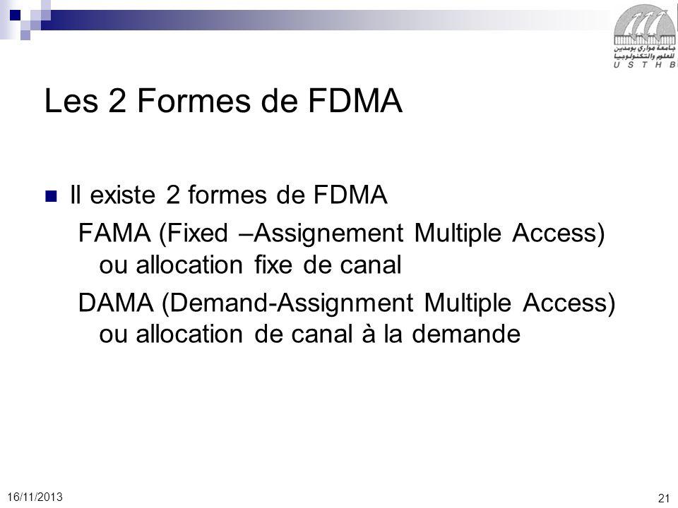 Les 2 Formes de FDMA Il existe 2 formes de FDMA