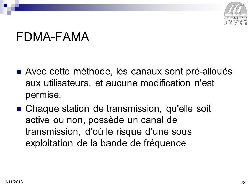 FDMA-FAMA Avec cette méthode, les canaux sont pré-alloués aux utilisateurs, et aucune modification n est permise.
