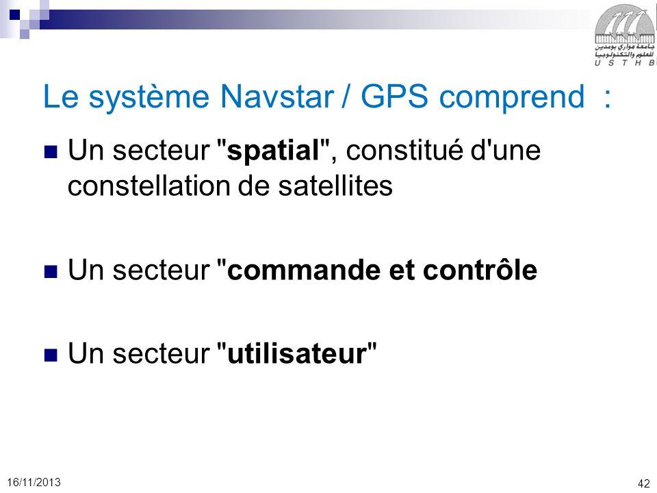 Le système Navstar / GPS comprend :