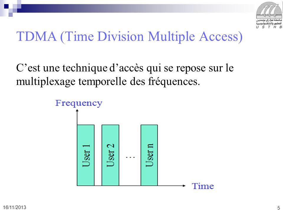TDMA (Time Division Multiple Access) C'est une technique d'accès qui se repose sur le multiplexage temporelle des fréquences.