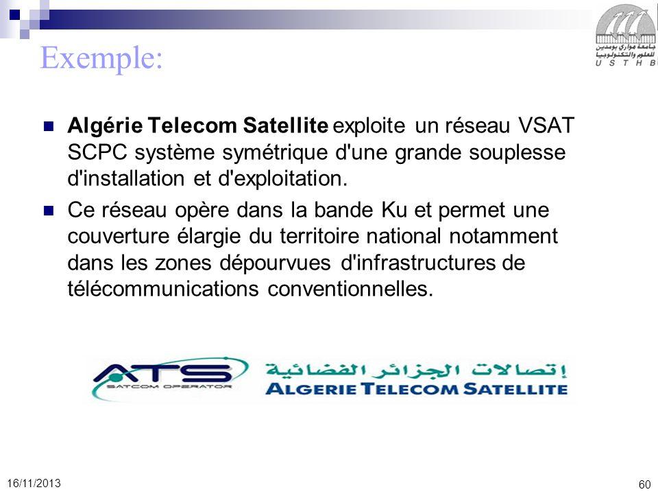 Exemple: Algérie Telecom Satellite exploite un réseau VSAT SCPC système symétrique d une grande souplesse d installation et d exploitation.