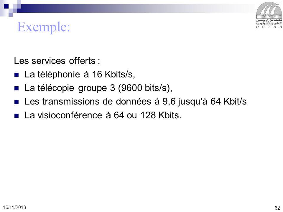 Exemple: Les services offerts : La téléphonie à 16 Kbits/s,
