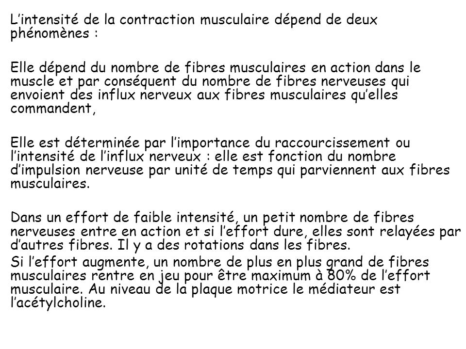 L'intensité de la contraction musculaire dépend de deux phénomènes : Elle dépend du nombre de fibres musculaires en action dans le muscle et par conséquent du nombre de fibres nerveuses qui envoient des influx nerveux aux fibres musculaires qu'elles commandent, Elle est déterminée par l'importance du raccourcissement ou l'intensité de l'influx nerveux : elle est fonction du nombre d'impulsion nerveuse par unité de temps qui parviennent aux fibres musculaires.
