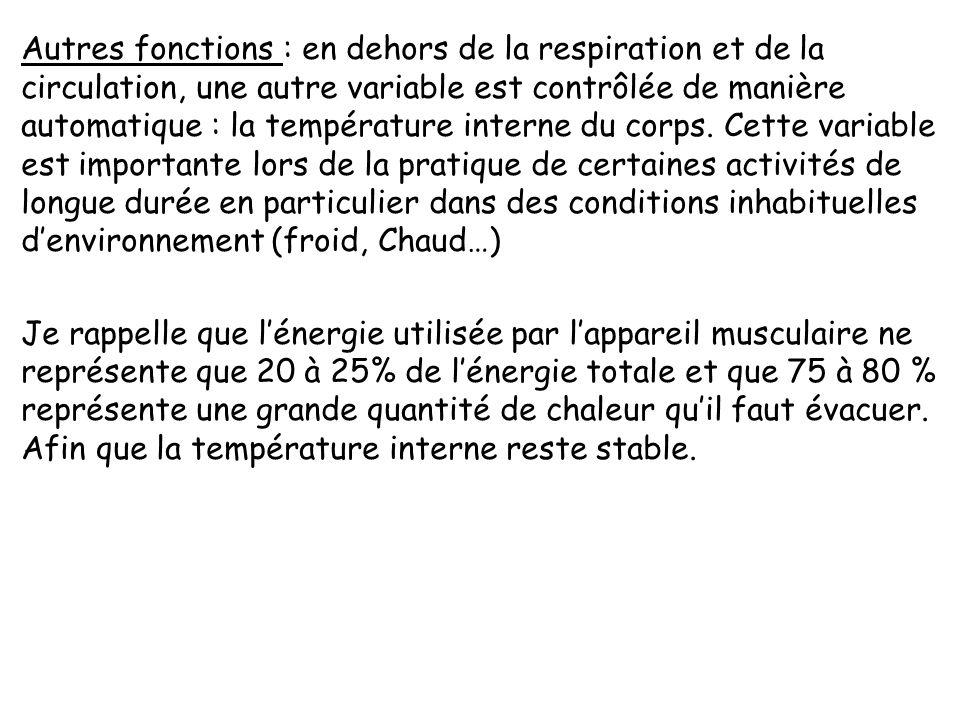 Autres fonctions : en dehors de la respiration et de la circulation, une autre variable est contrôlée de manière automatique : la température interne du corps.