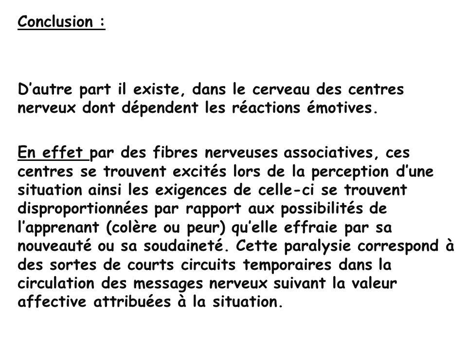 Conclusion : D'autre part il existe, dans le cerveau des centres nerveux dont dépendent les réactions émotives.