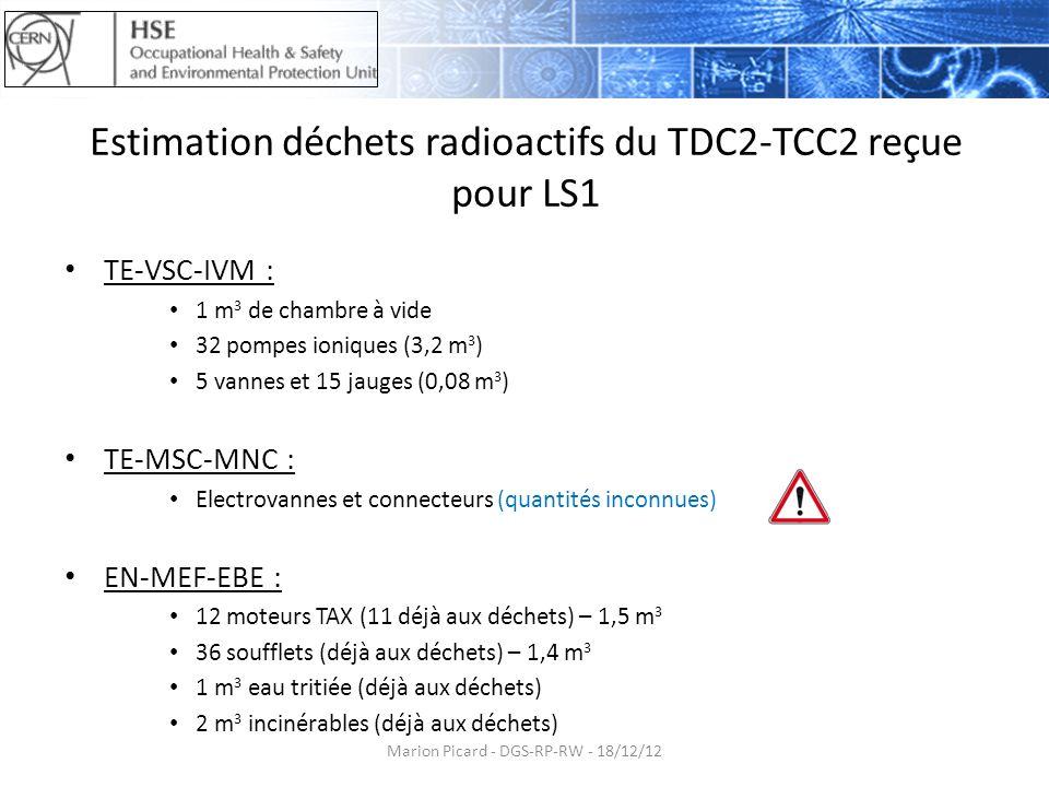 Estimation déchets radioactifs du TDC2-TCC2 reçue pour LS1