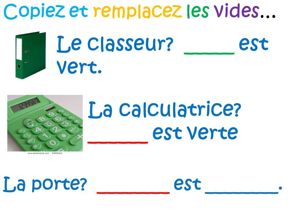 Le classeur _____ est vert.