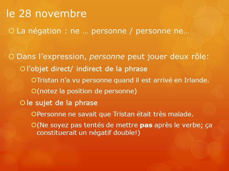 le 28 novembre La négation : ne … personne / personne ne…