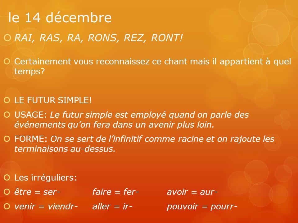 le 14 décembre RAI, RAS, RA, RONS, REZ, RONT!