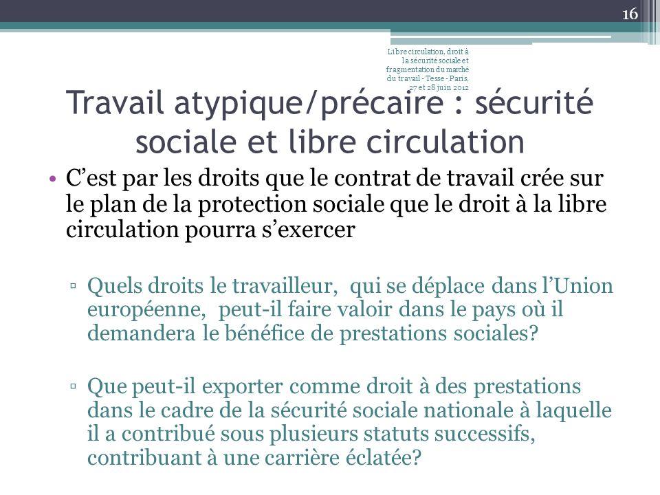 Travail atypique/précaire : sécurité sociale et libre circulation