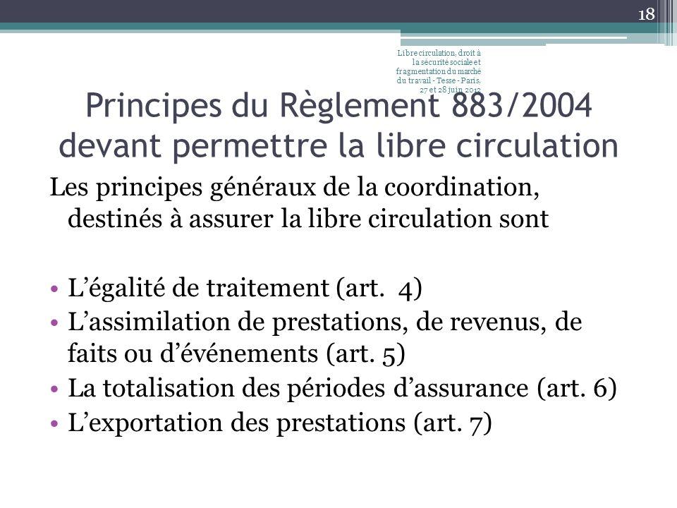 Principes du Règlement 883/2004 devant permettre la libre circulation