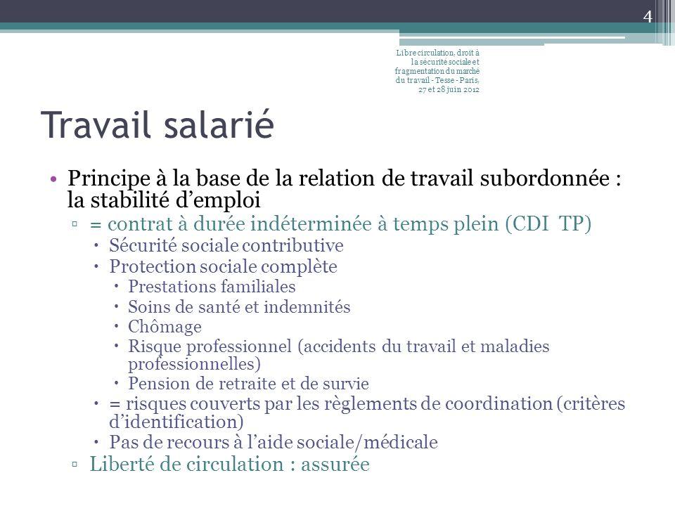 Libre circulation, droit à la sécurité sociale et fragmentation du marché du travail - Tesse - Paris, 27 et 28 juin 2012