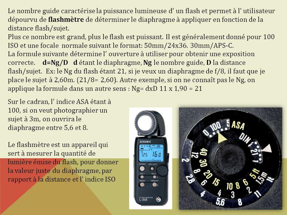 Le nombre guide caractérise la puissance lumineuse d' un flash et permet à l' utilisateur dépourvu de flashmètre de déterminer le diaphragme à appliquer en fonction de la distance flash/sujet.