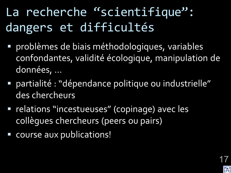 La recherche scientifique : dangers et difficultés