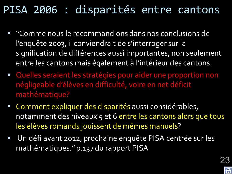 PISA 2006 : disparités entre cantons