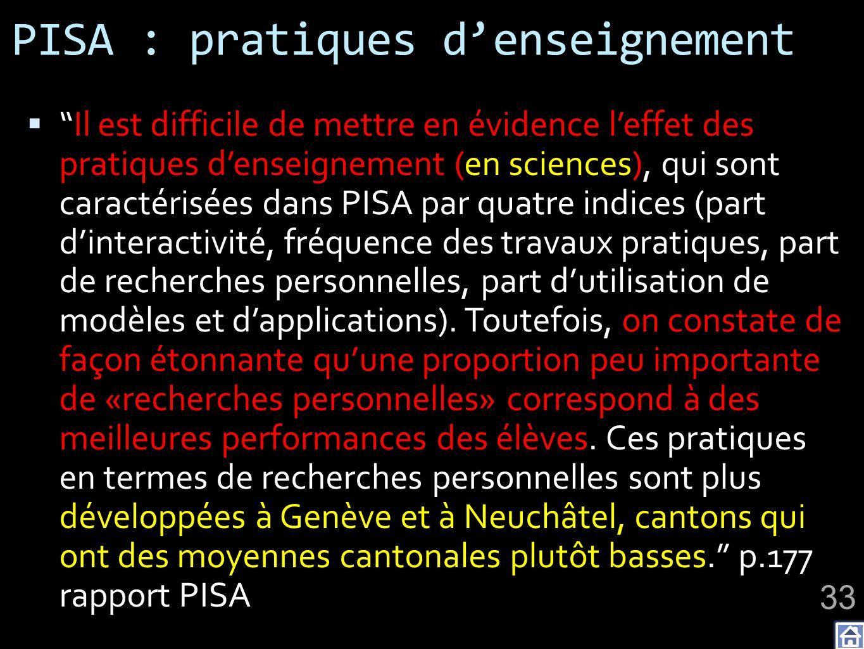 PISA : pratiques d'enseignement