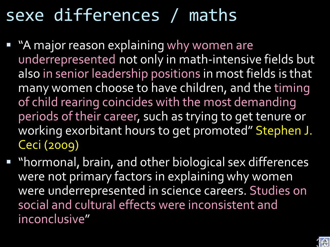 sexe differences / maths