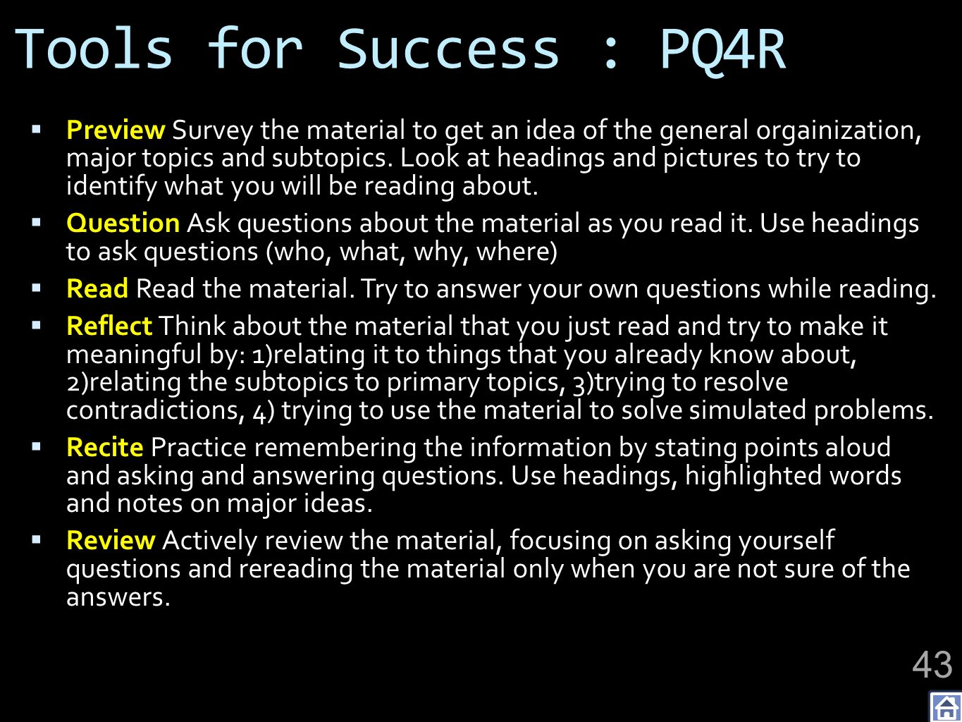 Tools for Success : PQ4R