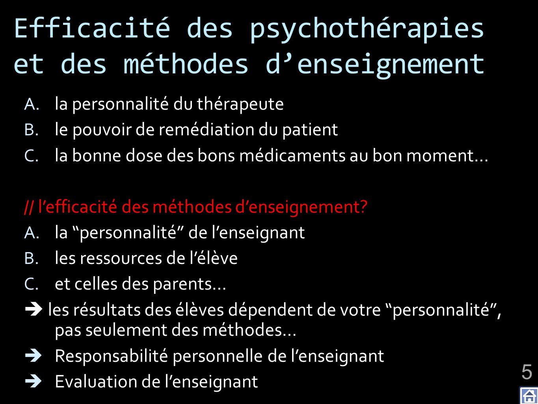 Efficacité des psychothérapies et des méthodes d'enseignement